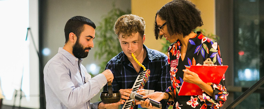 Students playing musical instruments